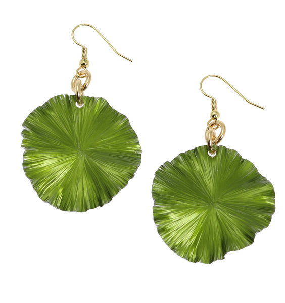 Lime Anodized Aluminum Lily Pad Earrings - Medium - johnsbrana - 1