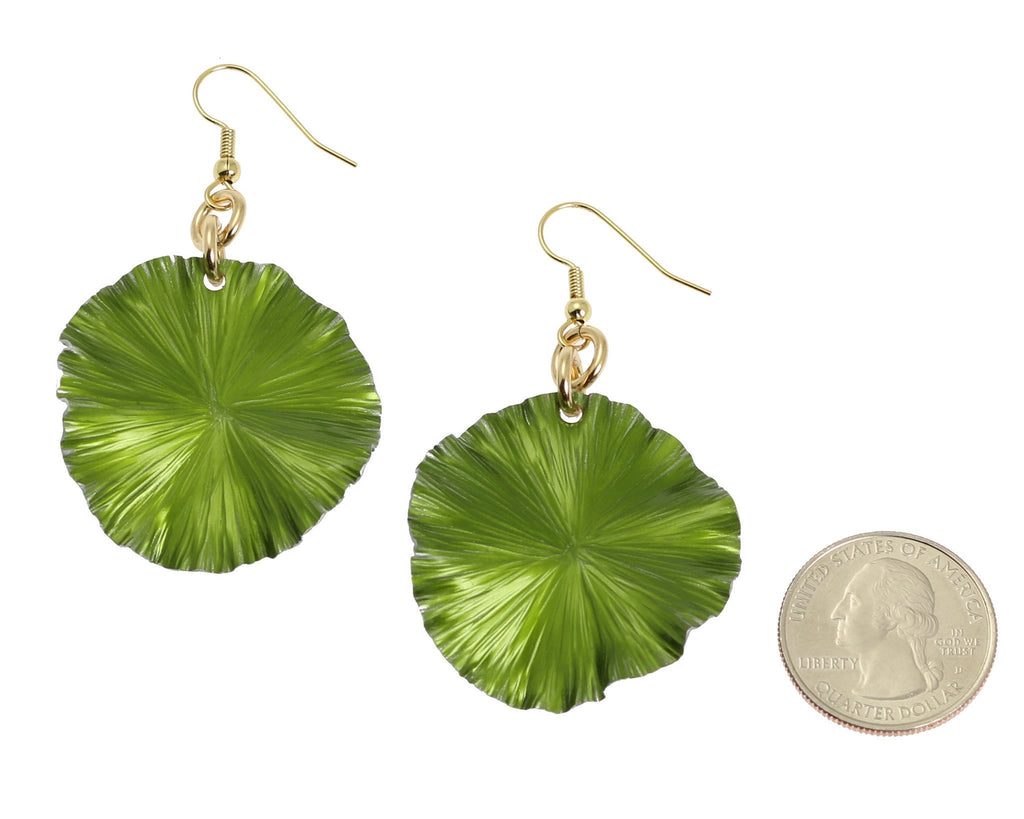 Lime Anodized Aluminum Lily Pad Earrings - Medium - johnsbrana - 2