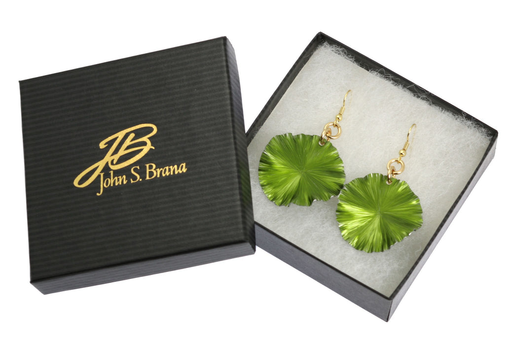 Lime Anodized Aluminum Lily Pad Earrings - Medium - johnsbrana - 3