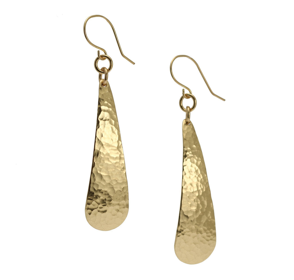 Long Hammered Nu Gold Brass Tear Drop Earrings - johnsbrana - 1