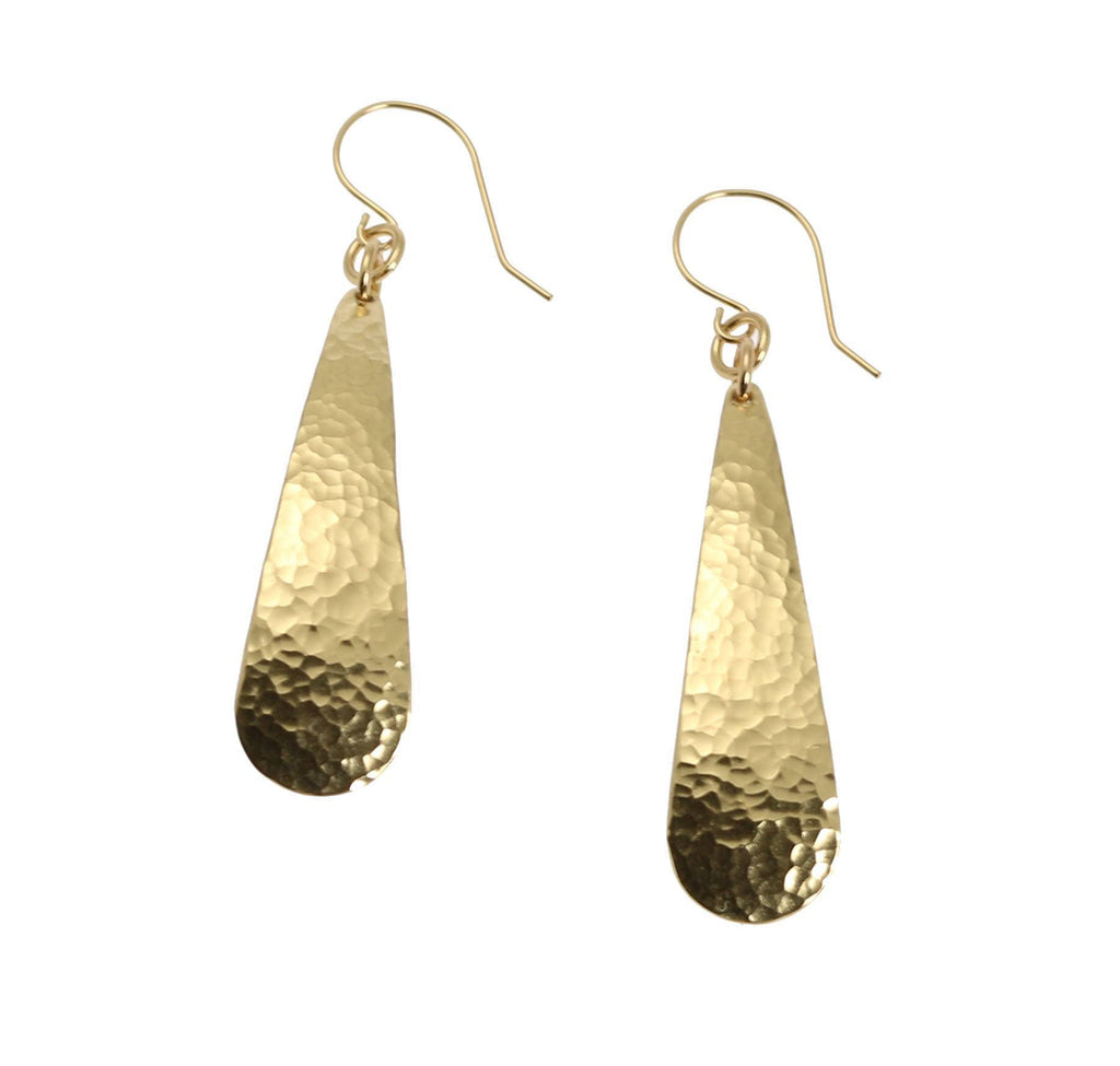 Long Hammered Nu Gold Brass Tear Drop Earrings - johnsbrana - 2