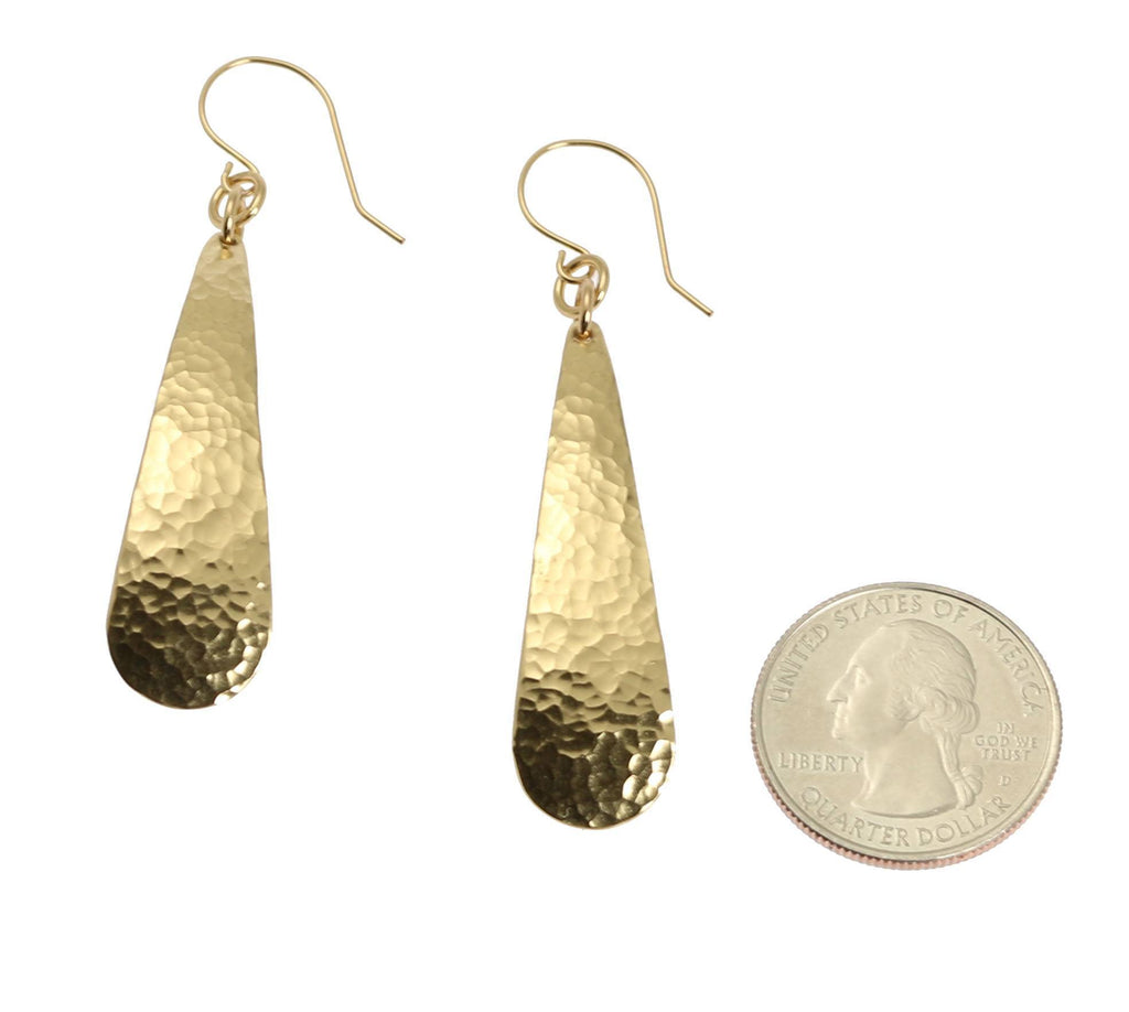 Long Hammered Nu Gold Brass Tear Drop Earrings - johnsbrana - 3
