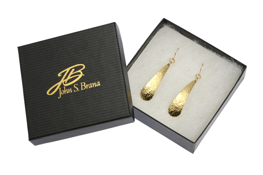 Earrings - Long Hammered Nu Gold Brass Tear Drop Earrings