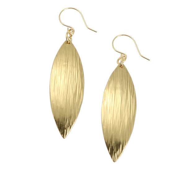 Medium Chased Nu Gold Brass Leaf Earrings - johnsbrana - 1