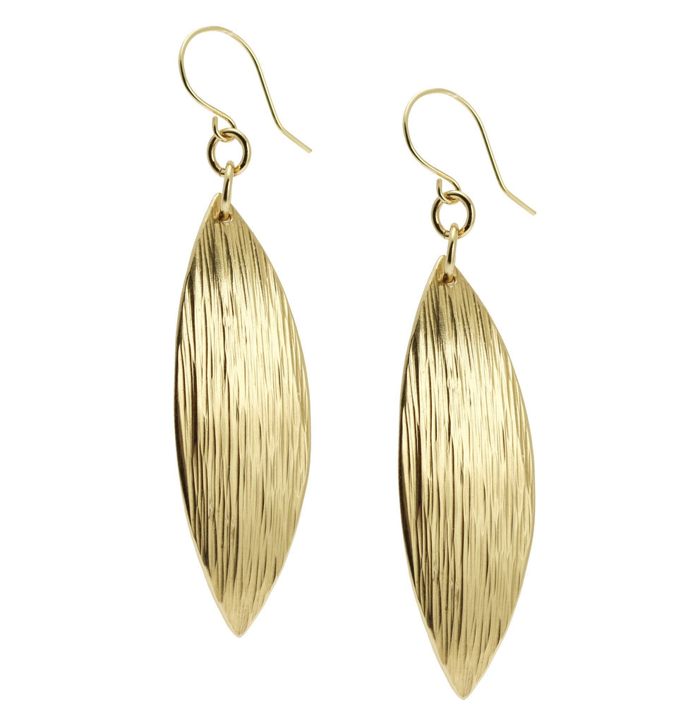 Medium Chased Nu Gold Brass Leaf Earrings - johnsbrana - 2