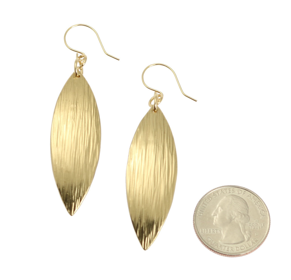 Medium Chased Nu Gold Brass Leaf Earrings - johnsbrana - 3