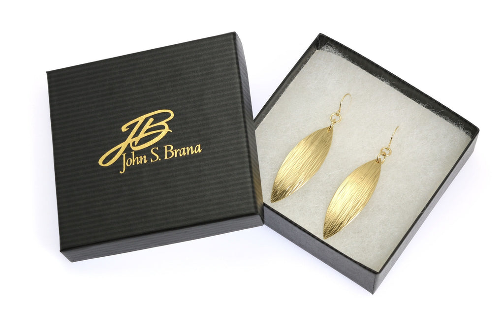 Earrings - Medium Chased Nu Gold Brass Leaf Earrings