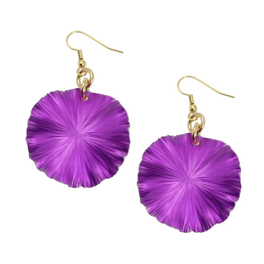 Medium Violet Anodized Aluminum Lily Pad Earrings - johnsbrana - 1