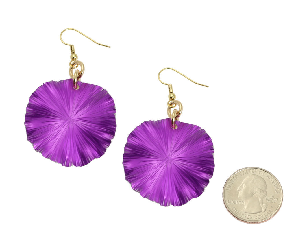Medium Violet Anodized Aluminum Lily Pad Earrings - johnsbrana - 2