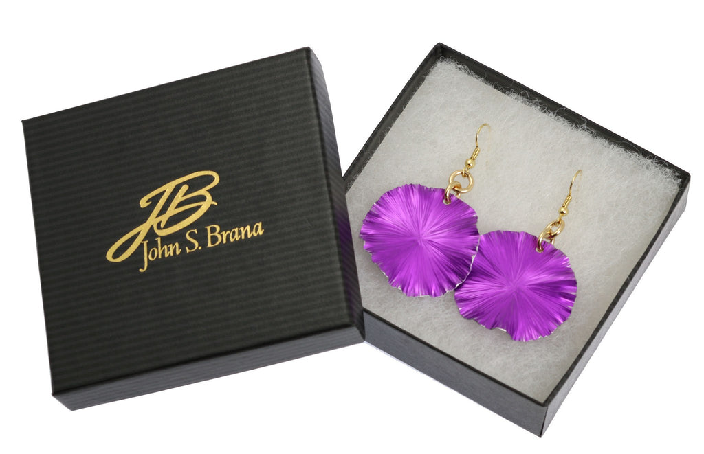 Earrings - Medium Violet Anodized Aluminum Lily Pad Earrings