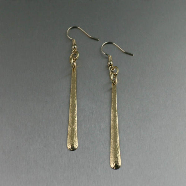 Mini Hammered Nu Gold Earrings - johnsbrana