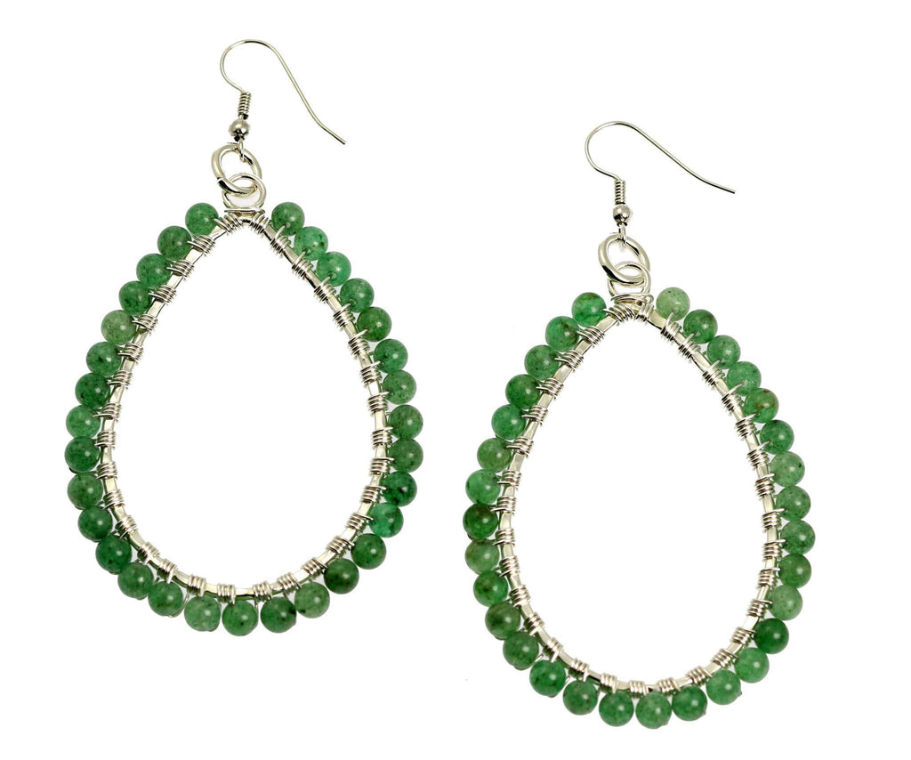 Mountain Jade Fine Silver Wire Wrapped Tear Drop Earrings - johnsbrana - 1