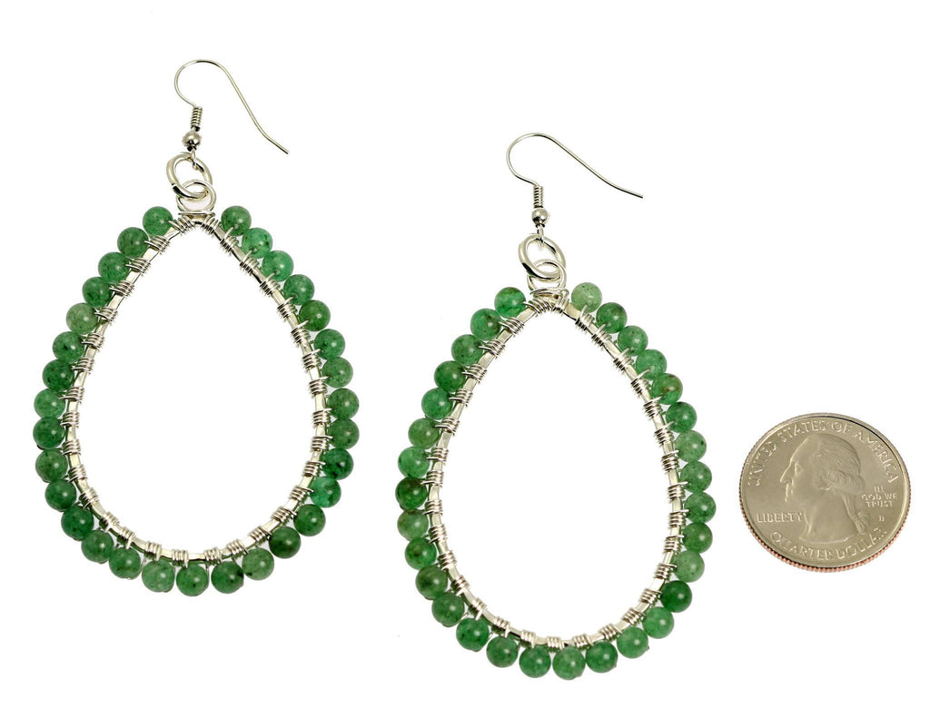 Mountain Jade Fine Silver Wire Wrapped Tear Drop Earrings - johnsbrana - 2