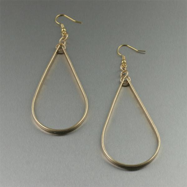 Nu Gold Bark Tear Drop Earrings - Large - johnsbrana