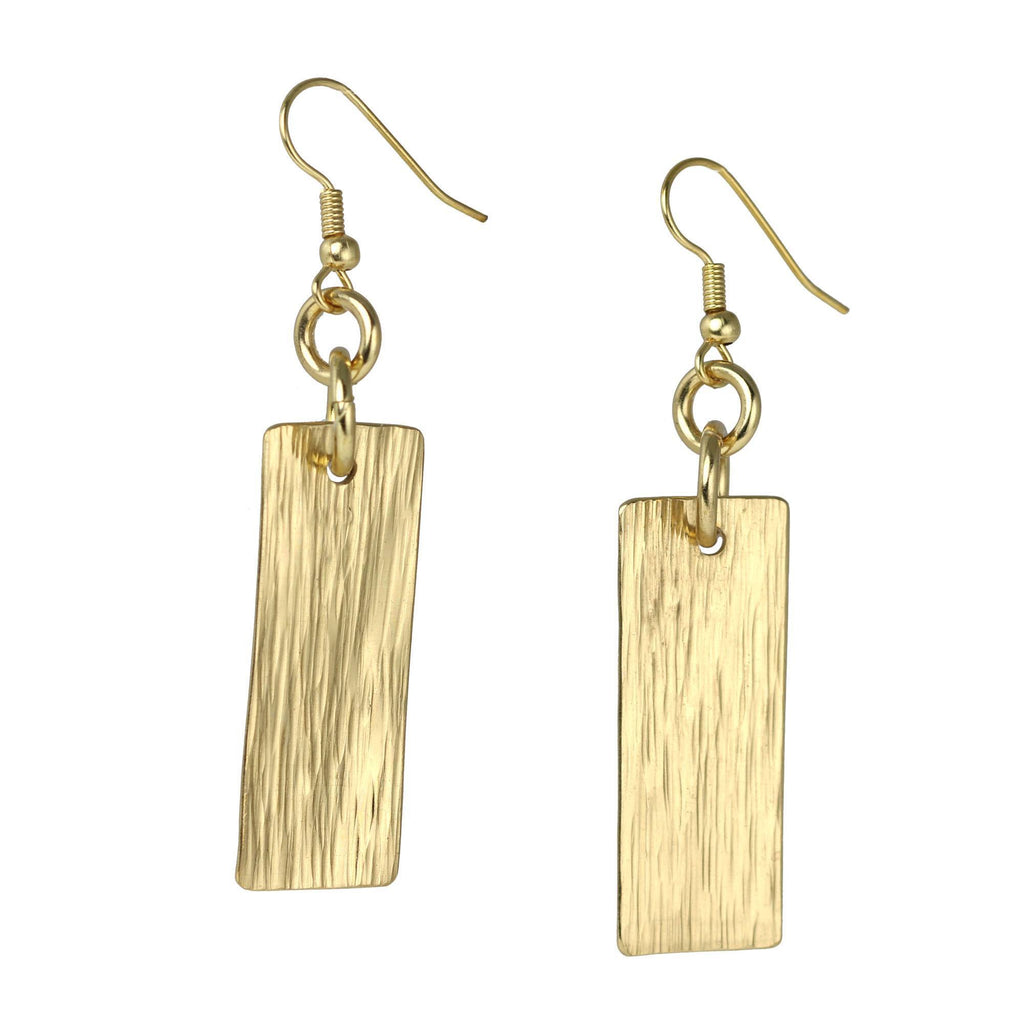 Nu Gold Brass Bark Drop Earrings - johnsbrana - 1