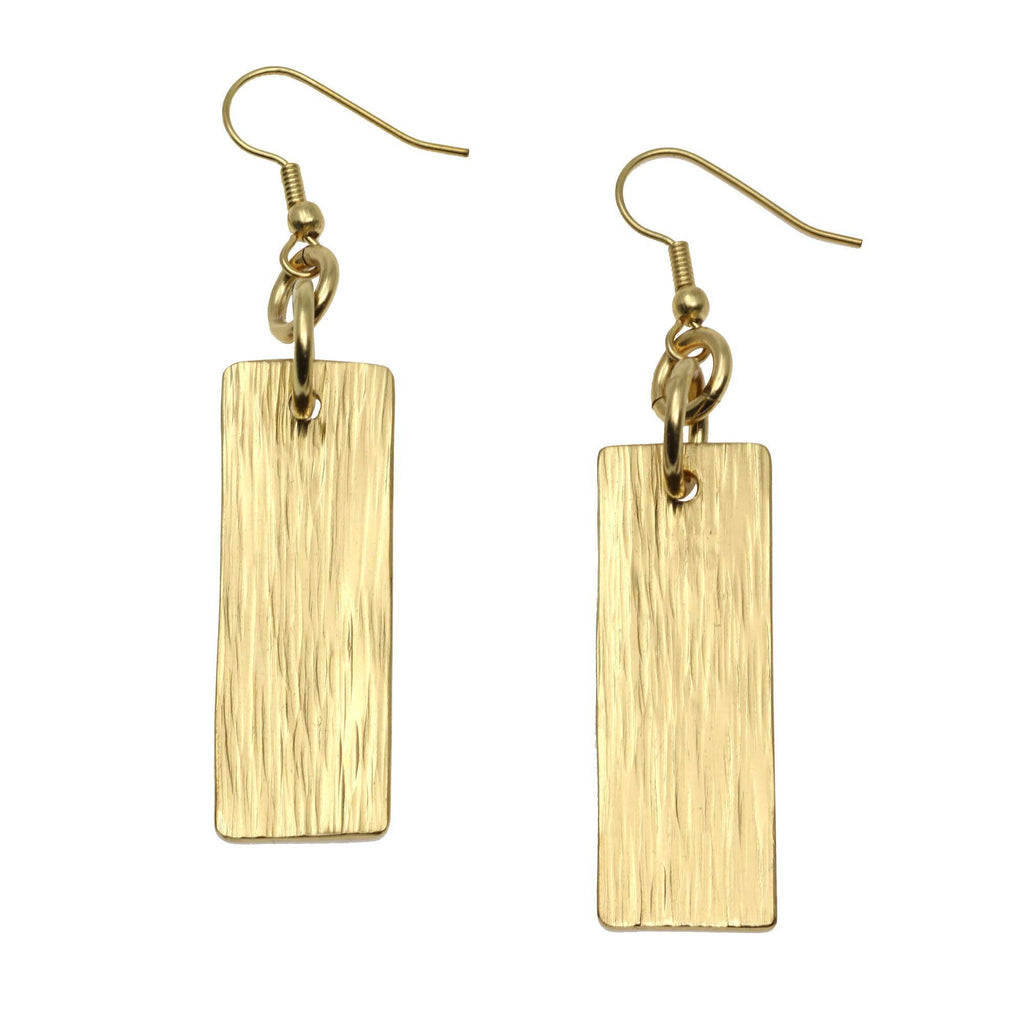 Nu Gold Brass Bark Drop Earrings - johnsbrana - 2