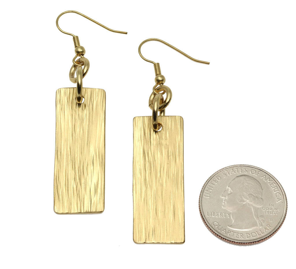 Nu Gold Brass Bark Drop Earrings - johnsbrana - 3