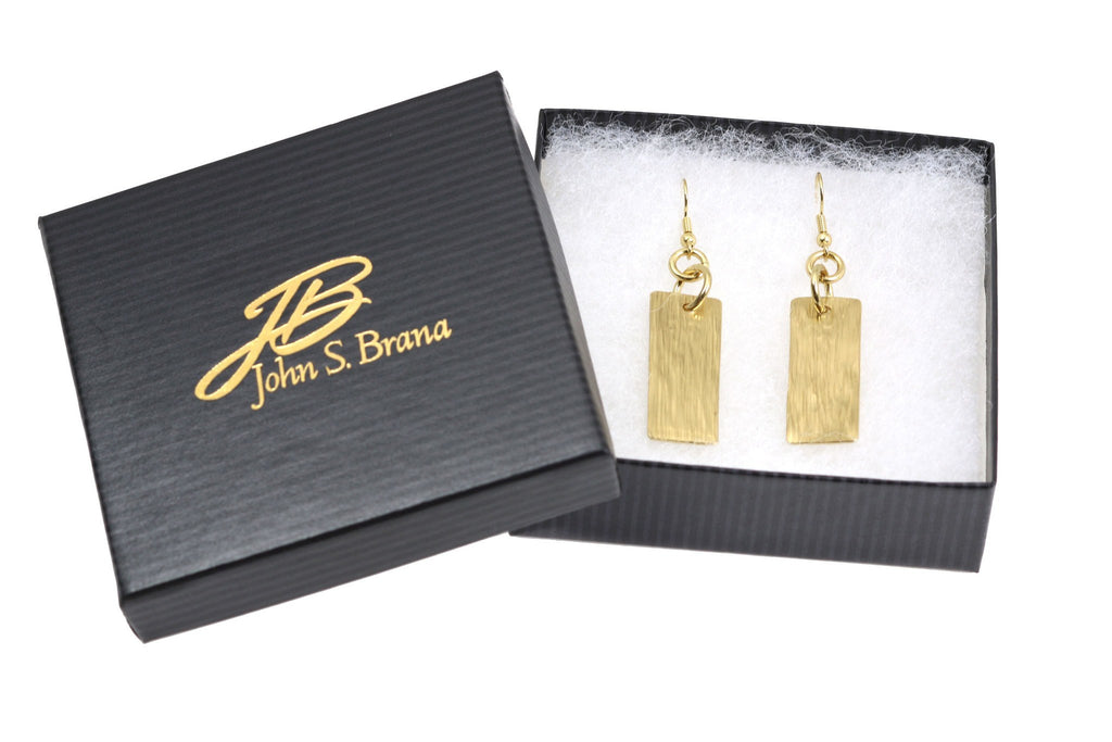 Earrings - Nu Gold Brass Bark Drop Earrings