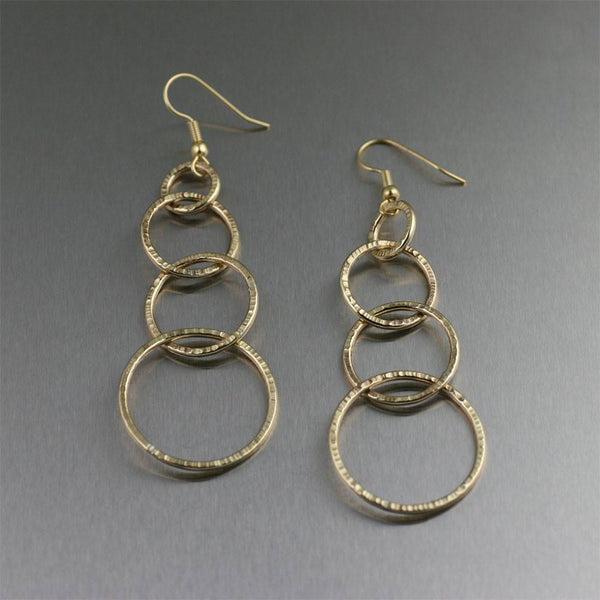 Nu Gold Brass Chased Link Drop Earrings - johnsbrana