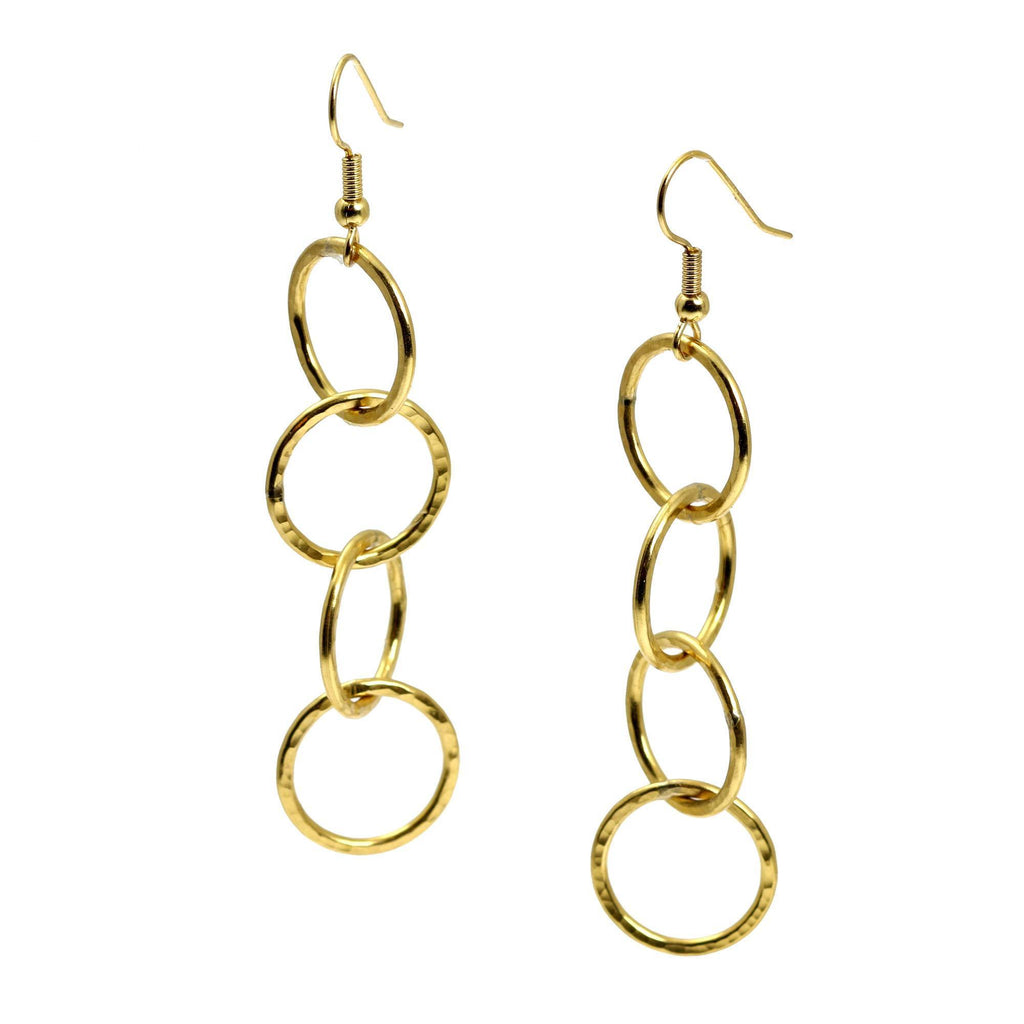 Nu Gold Brass Hammered Four Link Drop Earrings - johnsbrana - 1