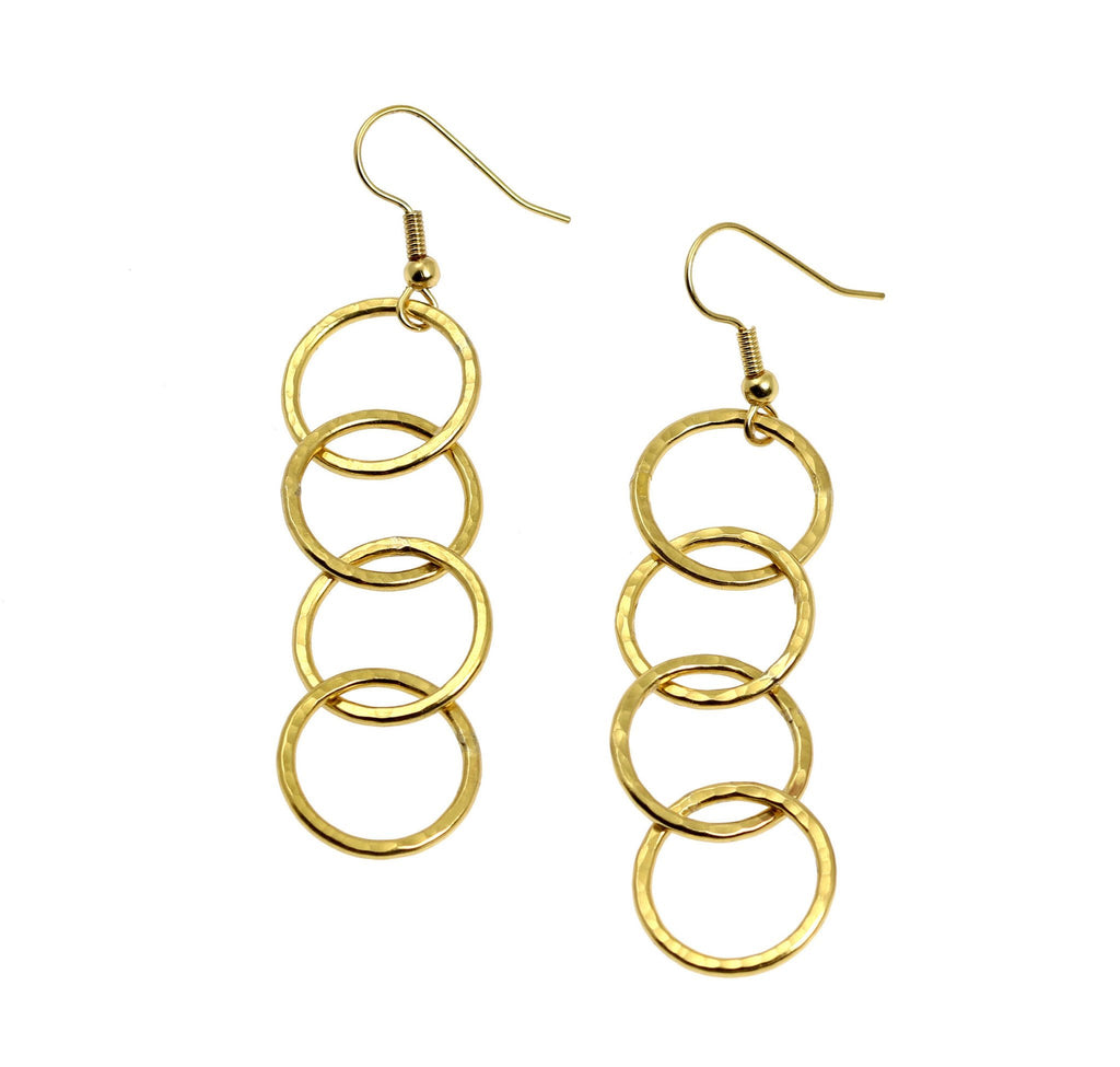 Nu Gold Brass Hammered Four Link Drop Earrings - johnsbrana - 2