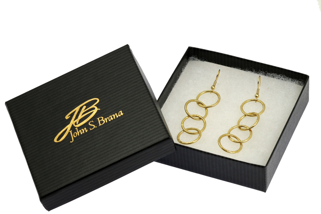 Earrings - Nu Gold Brass Hammered Four Link Drop Earrings