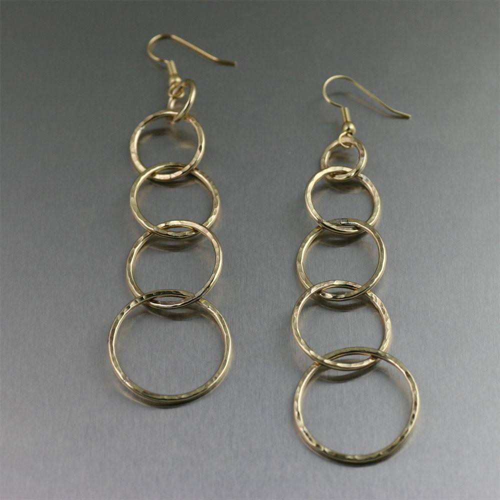 Nu Gold Brass Hammered Link Drop Earrings - johnsbrana - 1