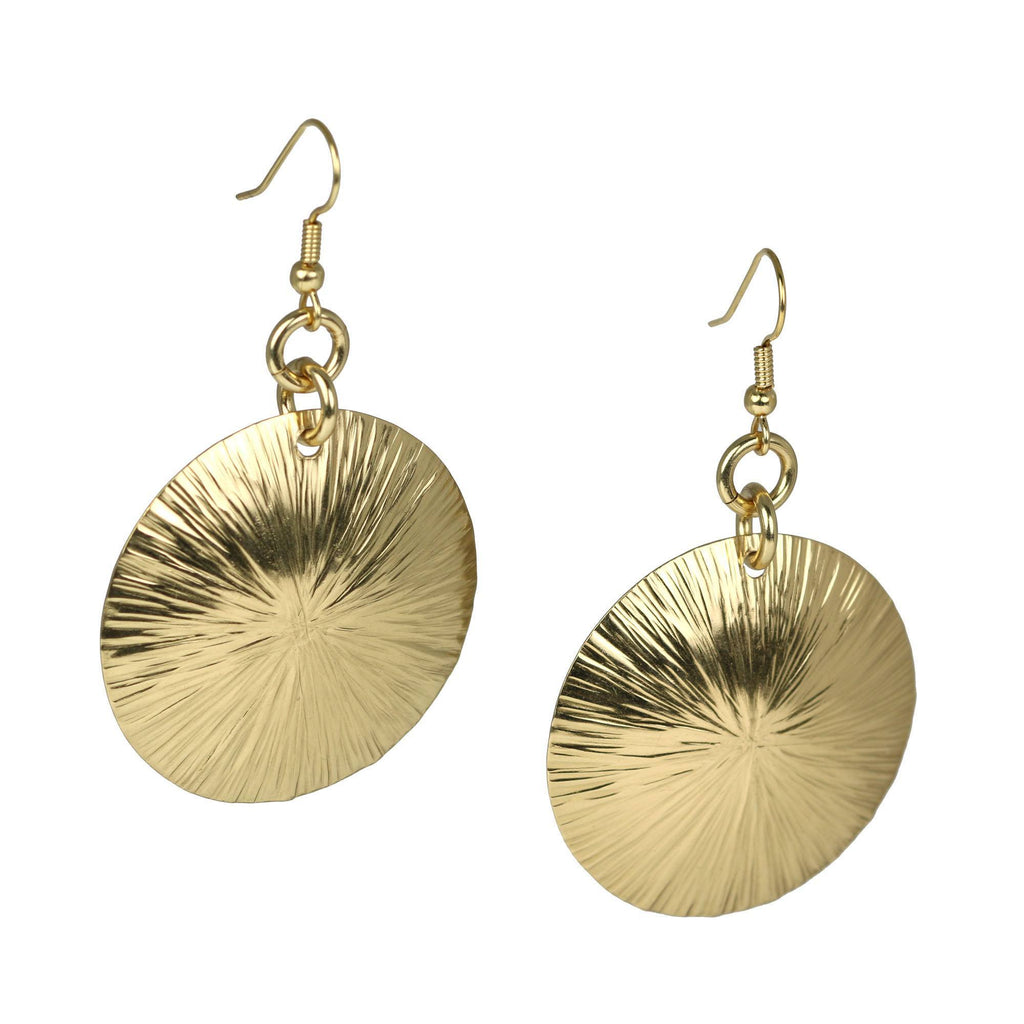 Nu Gold Brass Sand Dollar Earrings - johnsbrana - 1