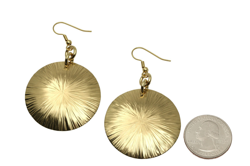 Nu Gold Brass Sand Dollar Earrings - johnsbrana - 3