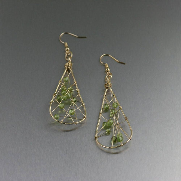 Nu Gold Brass Wire Wrapped Tear Drop Earrings with Peridot - johnsbrana