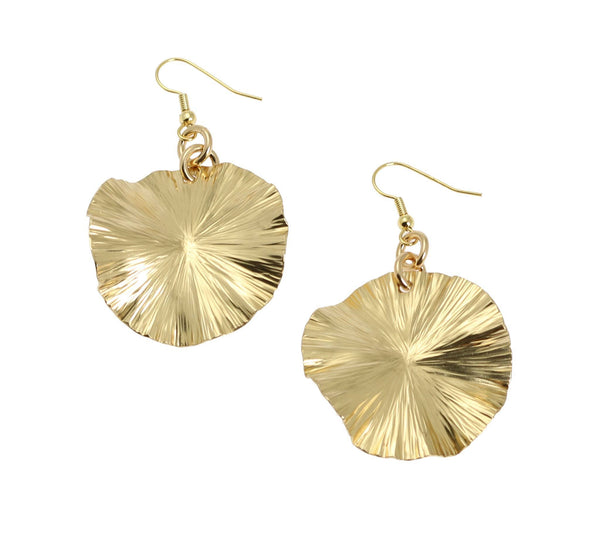Nu Gold Lily Pad Earrings - Gold Tone Leaf Earrings - johnsbrana - 1