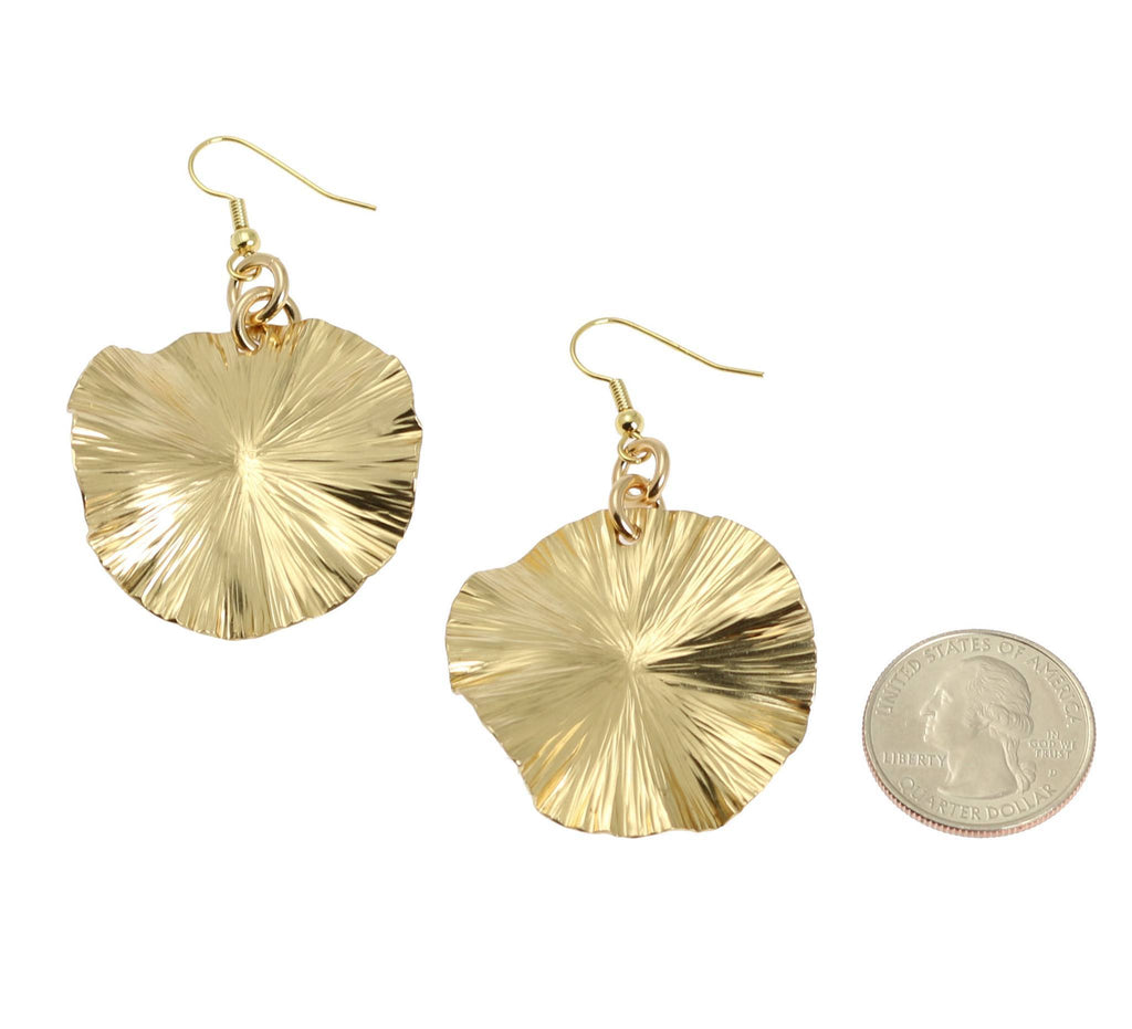 Nu Gold Lily Pad Earrings - Gold Tone Leaf Earrings - johnsbrana - 2