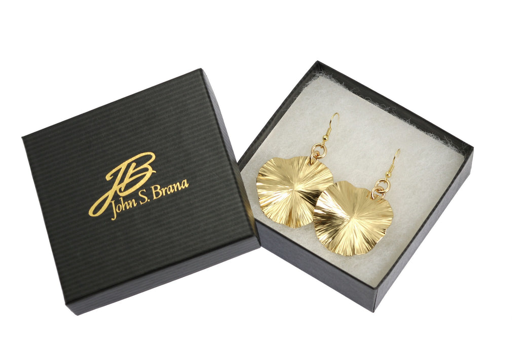 Nu Gold Lily Pad Earrings - Gold Tone Leaf Earrings - johnsbrana - 3