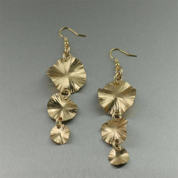 Nu Gold Lily Pad Earrings - Three-tiered - johnsbrana