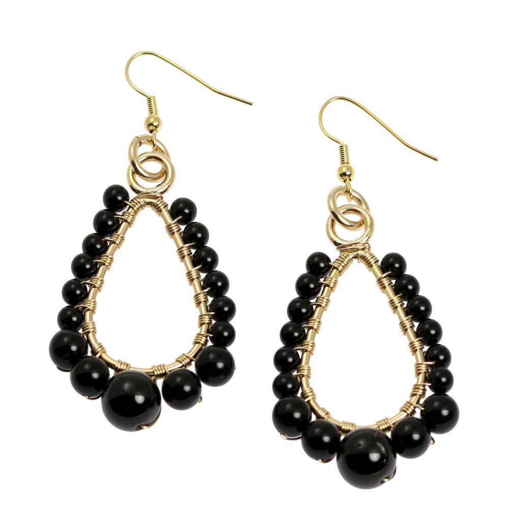 Onyx Wire Wrapped 14K Gold-filled Earrings - Small - johnsbrana - 1