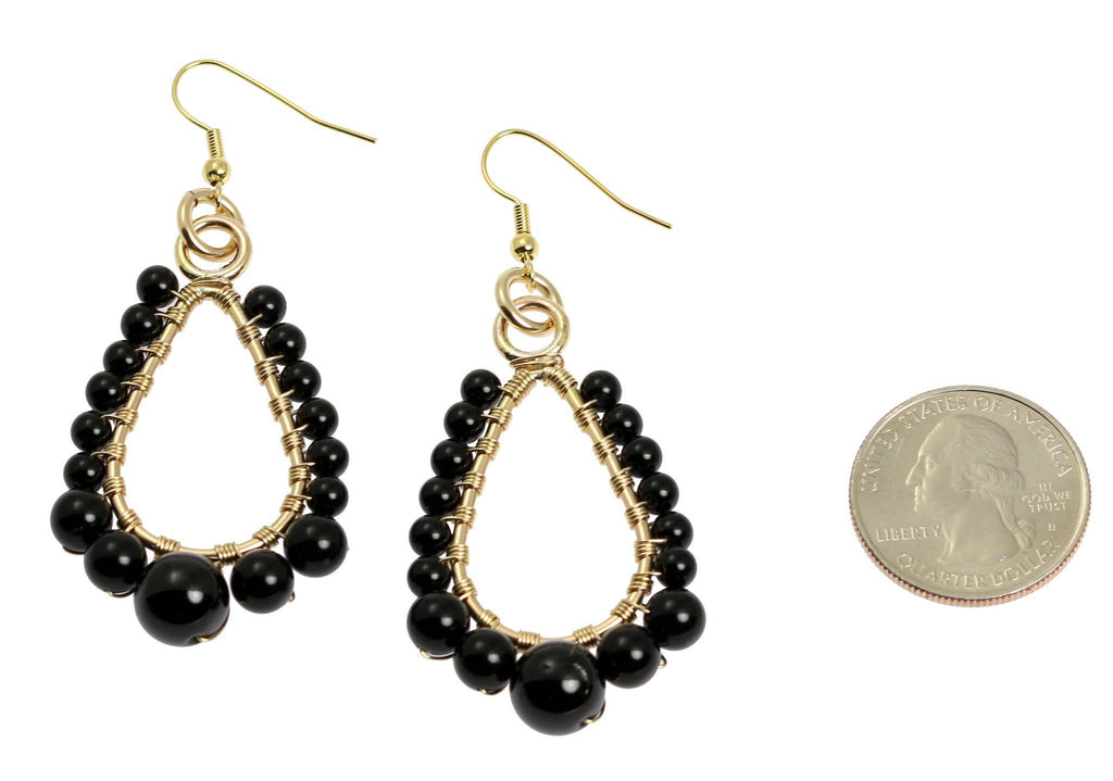 Onyx Wire Wrapped 14K Gold-filled Earrings - Small - johnsbrana - 2