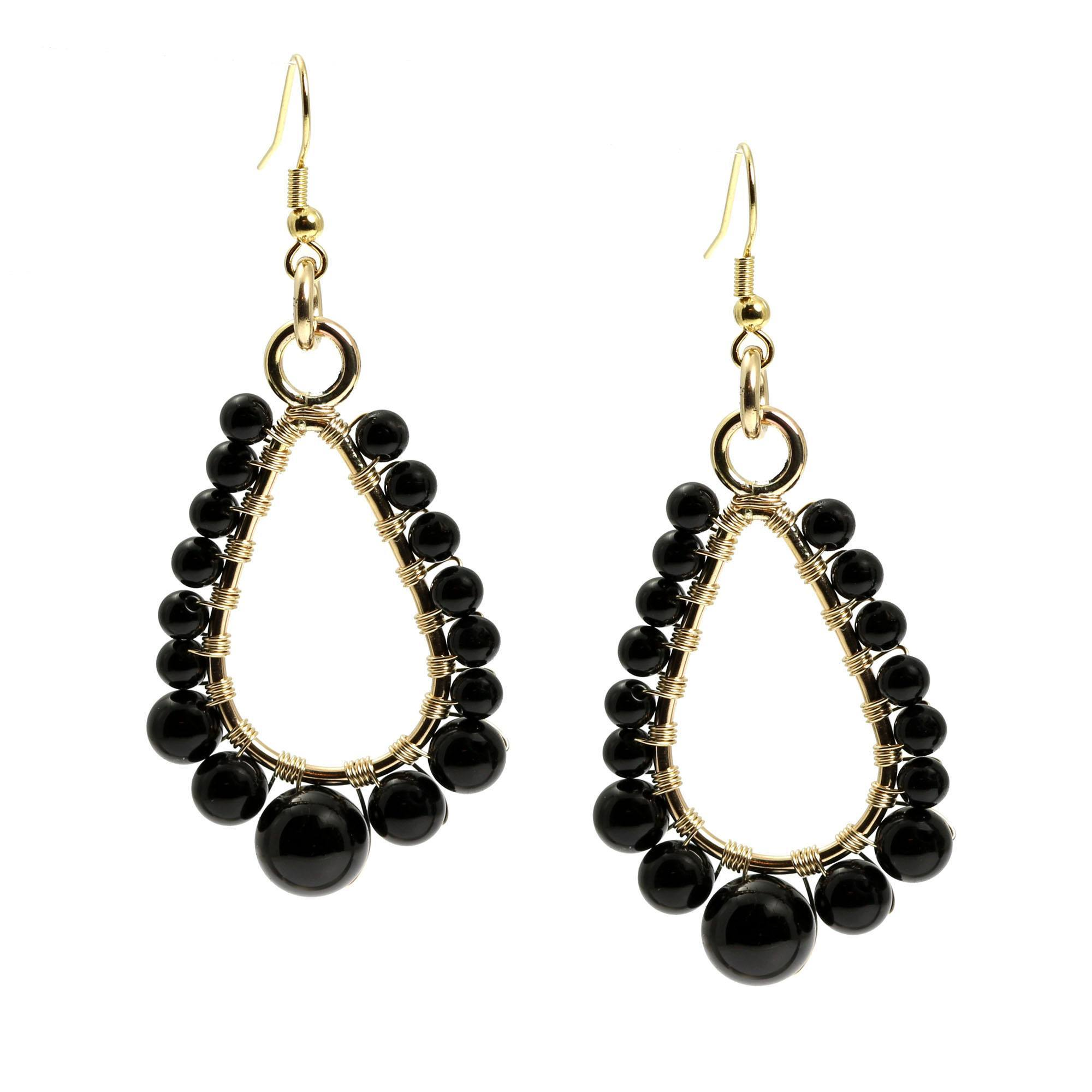 Onyx Wire Wrapped 14K Gold-filled Earrings - Small - John S Brana ...