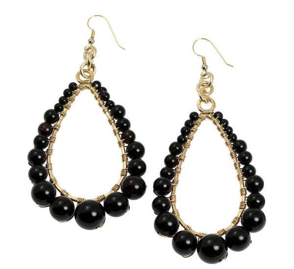 Onyx Wire Wrapped 14K Gold-filled Tear Drop Earrings - johnsbrana - 1