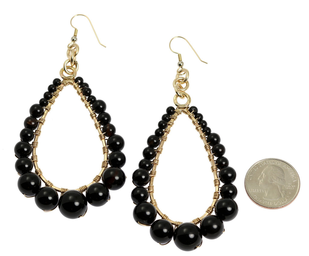 Onyx Wire Wrapped 14K Gold-filled Tear Drop Earrings - johnsbrana - 2