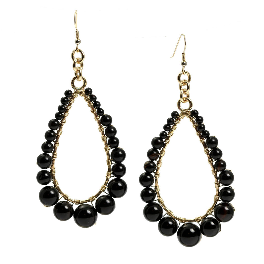 Onyx Wire Wrapped 14K Gold-filled Tear Drop Earrings - johnsbrana - 3
