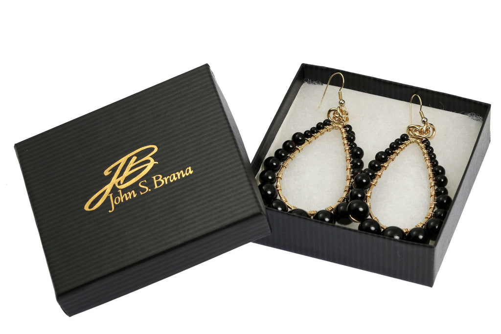 Onyx Wire Wrapped 14K Gold-filled Tear Drop Earrings - johnsbrana - 4