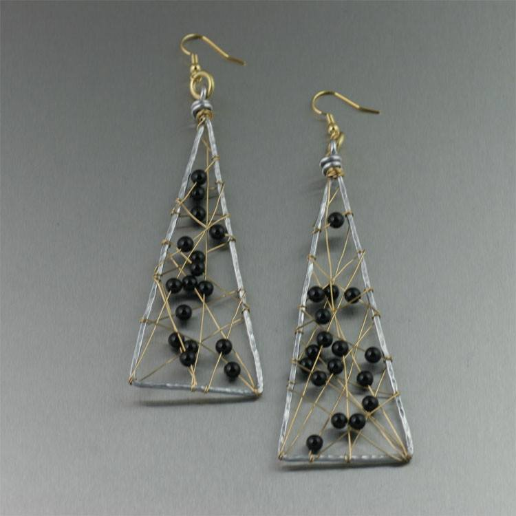 Onyx Wire Wrapped Aluminum Triangular Earrings - Large - johnsbrana