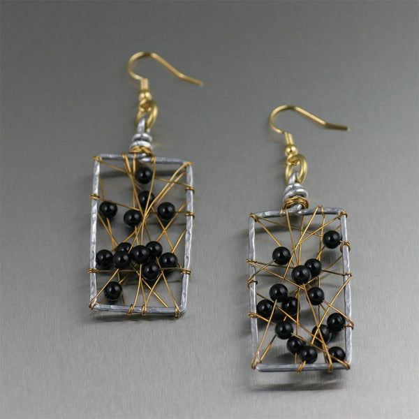 Onyx Wire Wrapped Rectangular Aluminum Earrings - johnsbrana