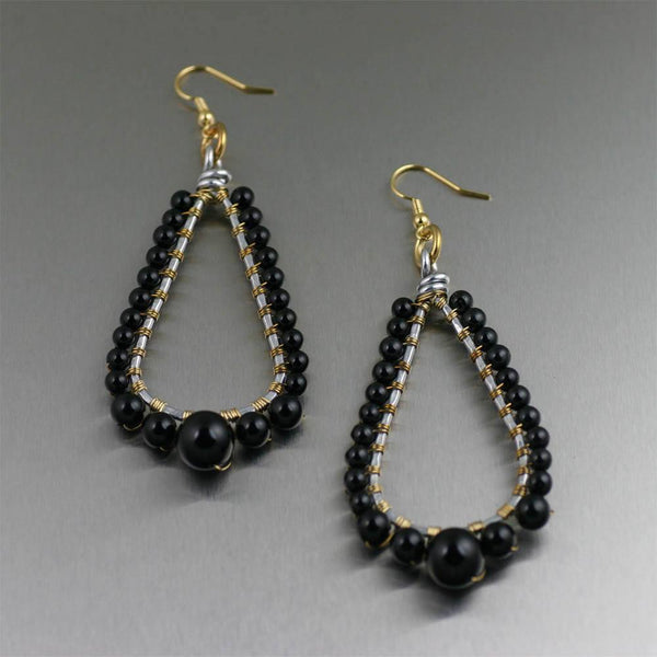 Earrings - Onyx Wire Wrapped Tear Drop Earrings