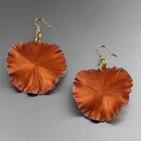 Earrings - Orange Anodized Aluminum Lily Pad Earrings - Large