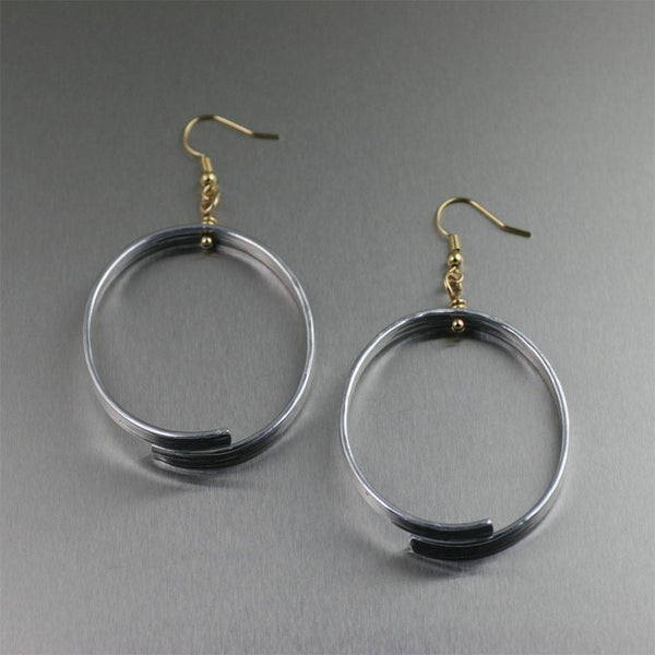 Oval Aluminum Bark Hoop Earrings - johnsbrana - 1