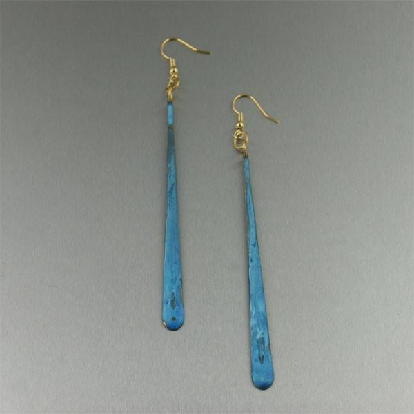 Patinated Copper Turquoise Tear Drop Earrings - johnsbrana