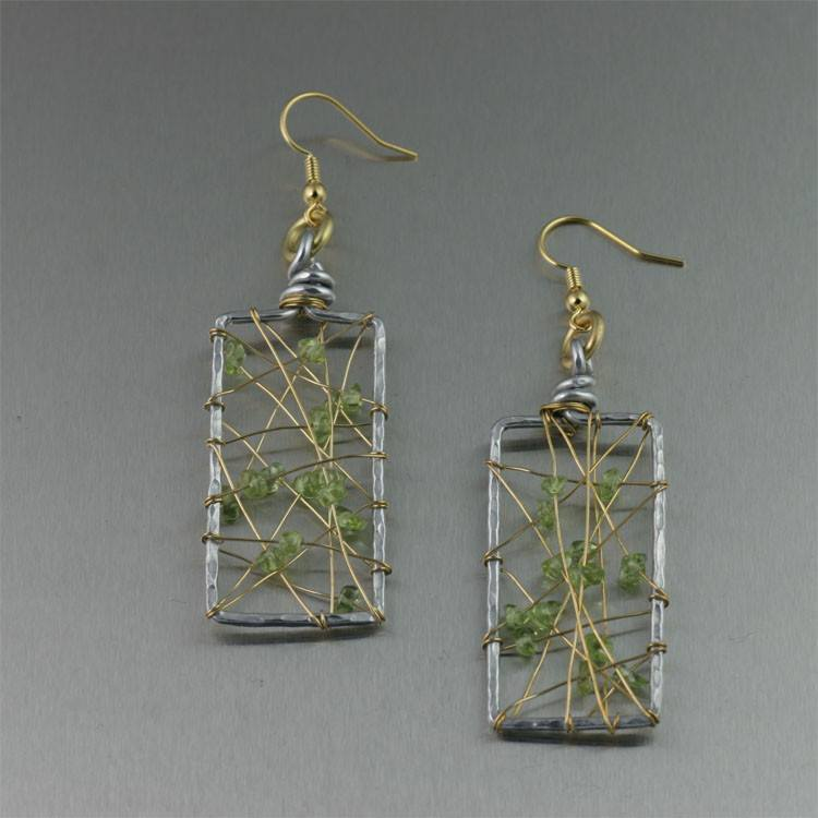 Earrings - Peridot Wire Wrapped Aluminum Rectangular Drop Earrings