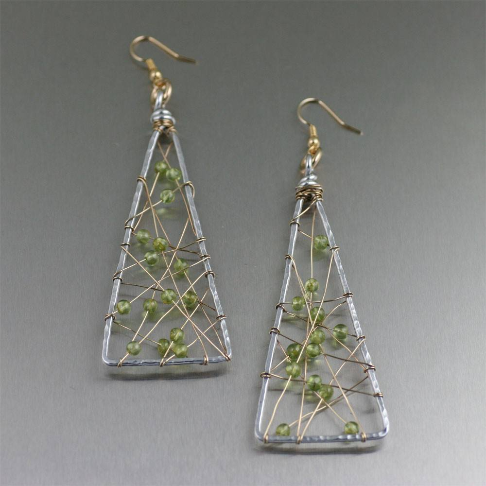 Peridot Wire Wrapped Aluminum Triangular Earrings - Large - johnsbrana