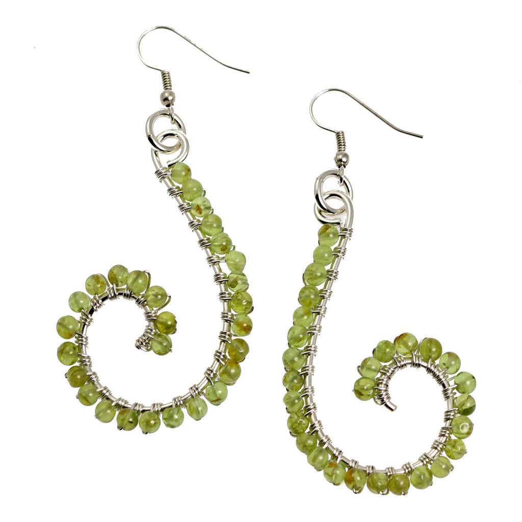 Peridot Wire Wrapped Sterling Silver Scroll Earrings - johnsbrana - 1